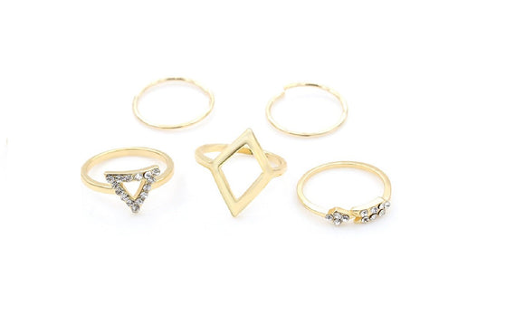 New Crystal Triangle Gold Rhinestone Arrow Midi Rings