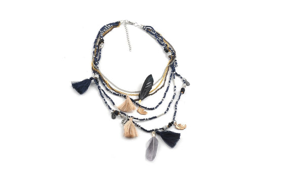 Multilayer Beads Feather Bohemian Choker Necklace