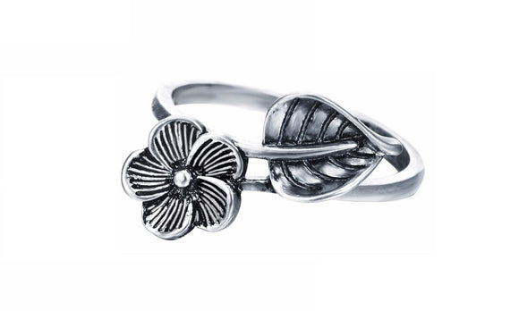 New Leaf Flower Adjustable Knuckle Midi Finger Ring