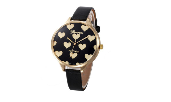 Heart Pattern PU Leather Quartz Watches For Women