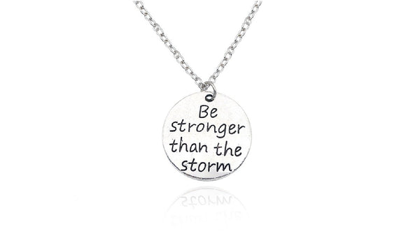 Trendy Carved Be Stronger Than The Storm Charm Pendant