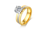 Stainless Steel CZ Diamond Gold Plated Rings For Women (7,8,9)