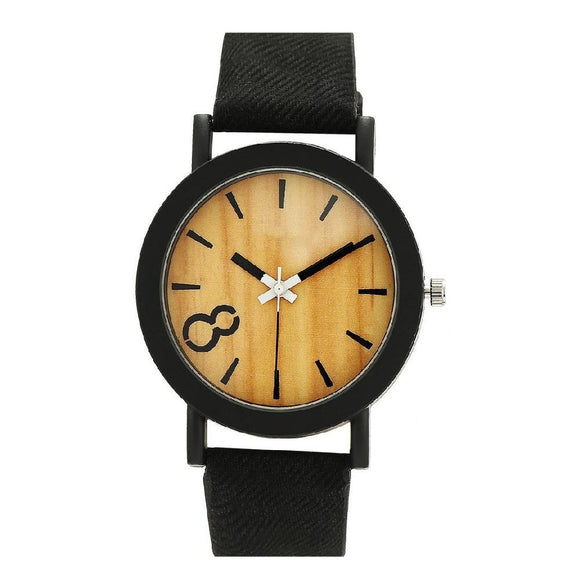 New Fashion Casual Wooden Leather Strap Wrist Watch