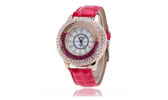 New Fashion Trendy Crystal Rhinestone Leather Strap Watch