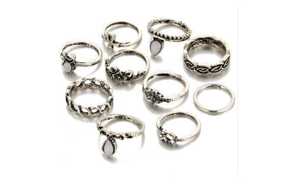 Set of Retro Unique Carved Antique SIlver Plated Knuckle Rings