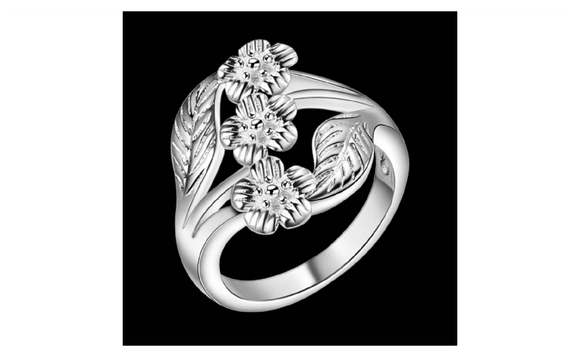 Curved High Quality Leaf Silver Plated Ring for Women 7