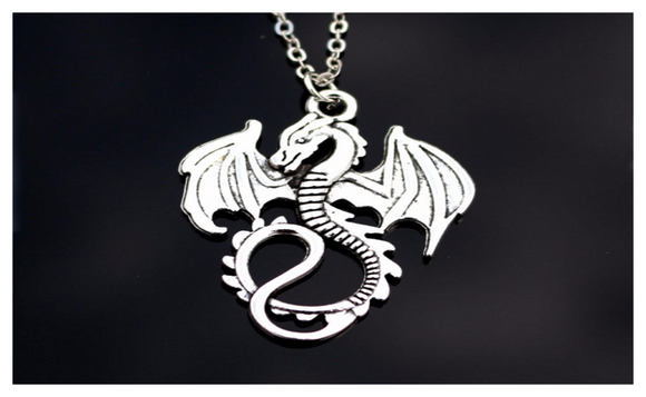 Love Vintage Silver Plated Dinosaur Necklace For Women