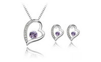 Fashion Purple Crystal Stone Heart Silver Plated Wedding Jewelry Set