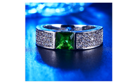White Gold Plated CZ Green Stone Engagement Ring (Size-6,7,8)