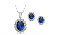 Crystal Stone Silver Blue Beautiful Necklace & Earrings Jewelry Sets
