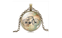 Vintage Bicycle & Map Glass Cabochon Bronze Necklace