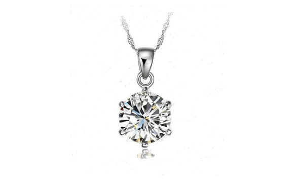 925 Sterling Silver Necklace,Wedding Jewelry 6 Claw Cubic Zirconia