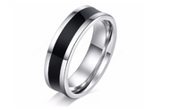 Black Polishing Cool Black Fashion Stainless Steel Ring For Women