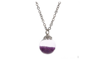 Small Glass Bottle Purple Bead Silver Plated Chain Necklace for Women