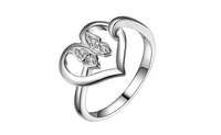 Silver Plated Love Heart Butterfly Ring for Women (6,7,8)