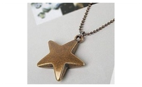Vintage jewelry star long necklace Antique Bronze Plated