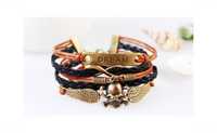 New Fashion Skull Charms Infinity Brown Black Woven Leather Bracelet