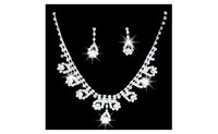 Romantic Rhinestone Wedding Party Pendant Earring Necklace Jewelry Set