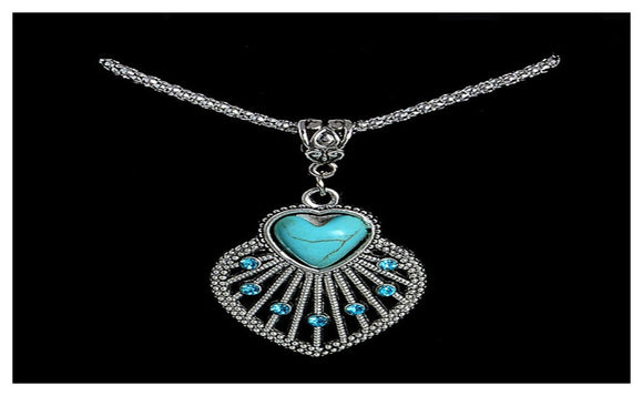 Tibetan Silver Seashell Alloy Crystal Turquoise Necklace