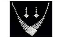 Bridal White Gold Plated Pendant Necklace Earrings Jewelry Set