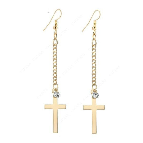 Women Cross Dangle Long Beautiful Earrings