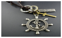 Genuine Leather Vintage Cross Anchor and Rudder Pendant Necklace