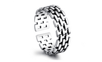 Silver Plated Watch Chain Opening Retro Brick Dance Tail Ring