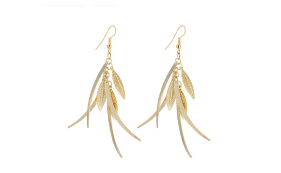 Fashion Trendy Gold Plated Dangle Long Earrings For Women
