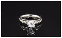 Stainless Steel Circle Cubic Zirconia Diamond Rings For Women