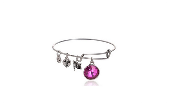 Bangles with Birthstone Charms Lovely Cute Bracelet