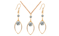 New Women's Popular Gold Rhinestone Earrings Necklace Jewelry Set