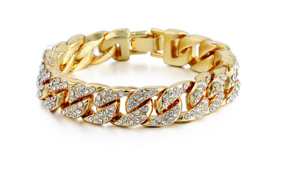 Bling Iced Out Curb Cuban Gold Color Bracelet
