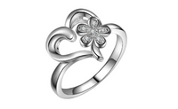 Silver Plated Love Heart Flower Wedding Ring For Women (Size-6,7,8)