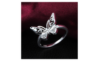 Classic Hollow Butterfly Engagement Rings With Austrian Crystals (6,7)