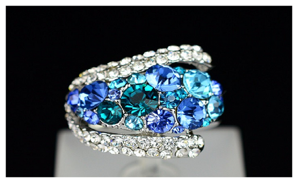 Sparkling Crystal Sapphire  Rings For Women Jewelry