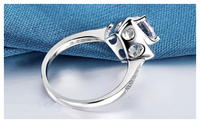 Square Shape Flower Rose Design Wedding Engagement Ring