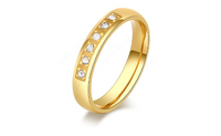 Gold Plated Six CZ Diamond Stainless Steel Rings For Women (7,8,9)