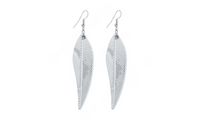Silver Plated Long Leave Dangle Earrings For Women