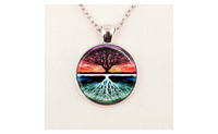 Tree of Life Sunset Nature Art Pendant Chain Necklace