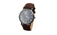 Roman Numerals Faux Leather Band Quartz Analog Luxury Dress Watch