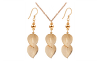 Gold Plated Alloy Leaf Pattern Long Earrings Necklace Jewelry Set