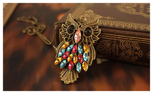 Retro Vintage Colorful Rhinestone Bronze Owl Pendant Necklace