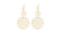 Classic Pattern Hollow Round Gold Plated Dangle Long Earing For Women