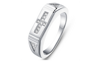 New Couple Fashion Platinum Plated 925 CZ Stone Wedding Ring