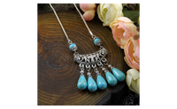 Snake Chain Zinc Alloy Vintage Turquoise Necklace for Women