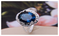 Blue Alloy Cubic Zirconia Sapphire Cut Wedding Ring for Women