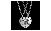 Creative Letter Partners In Crime Half Heart Love Necklace For Girls