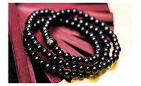 Fashion Sandalwood Buddhist Meditation 108 Prayer Beads Bracelet Black