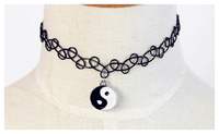 Vintage Braided Fish Line Elastic choker Necklace Eight Diagrams Retro Gothic - sparklingselections