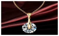 Alloy Gold Silver Plated High Quality Crystal Round Pendants Necklace For Women - sparklingselections
